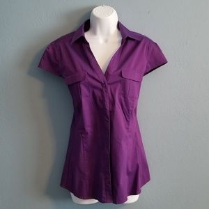 NY&Co. Purple short sleeved button down blouse